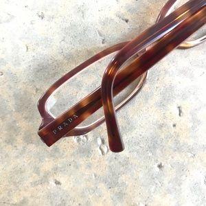 Prada Vintage 1980's Amber Plastic Eyeglasses
